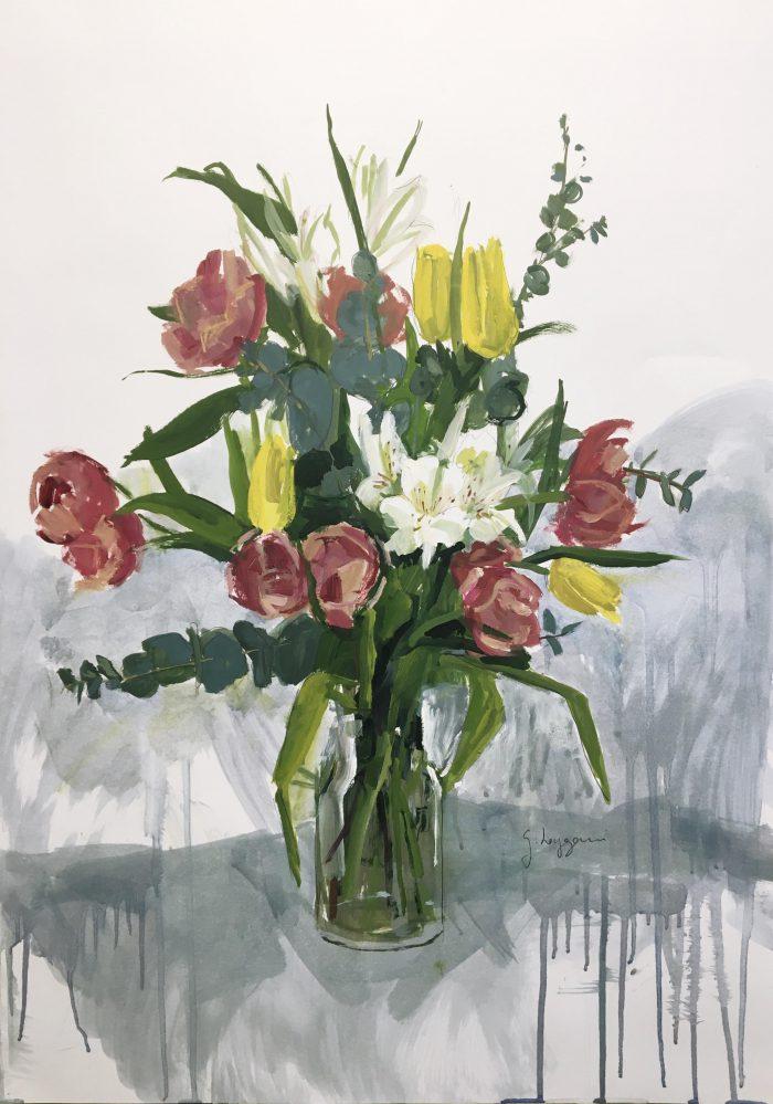 Tulipanes y astromerias